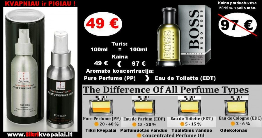 """HUGO BOSS""  BOSS.BOTTLED Kvepalai vyrams 100ml (Parfum) Pure Perfume"