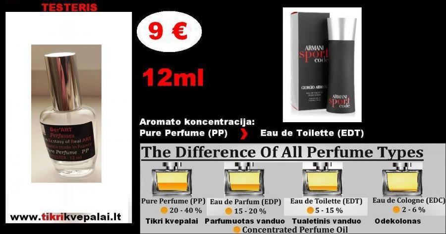 """""""GIORGIO ARMANI"""" CODE SPORT Kvepalai Vyrams 12ml TESTERIS. (Parfum) Pure Perfume"""
