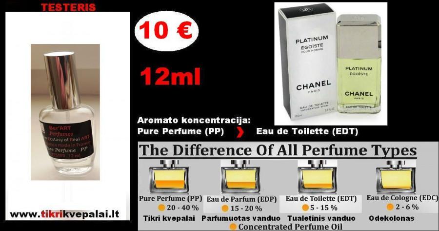 """CHANEL"" EGOISTE PLATINUM Kvepalai Vyrams 12ml TESTERIS (Parfum) Pure Perfume"