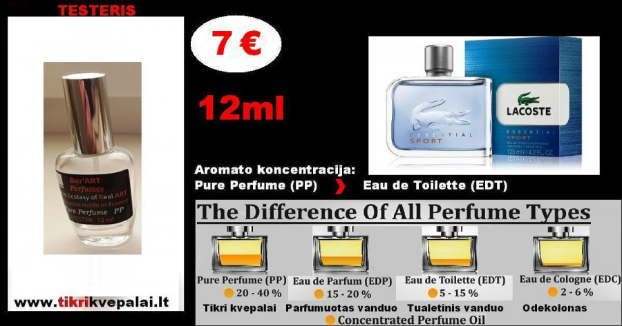 "TESTERIS. LACOSTE ""ESSENTIAL SPORT"" 12 ml (PP) Pure Perfume Kvepalai Vyrams"