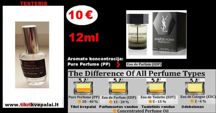 """YVES SAINT LAURENT"" La Nuit De L'Homme Kvepalai Vyrams 12ml TESTERIS (Parfum) Pure Perfume"