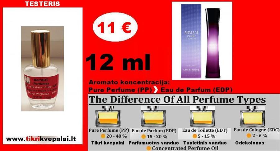 """GIORGIO ARMANI"" CODE CASHMERE 12ml (Parfum) Pure Perfume Kvepalai Moterims"