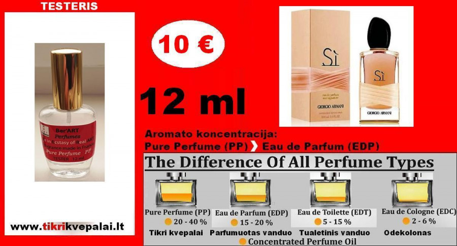 "TESTERIS. GIORGIO ARMANI ""Si"" ROSE SIGNATURE 12ml (Parfum) Pure Perfume Kvepalai Moterims"
