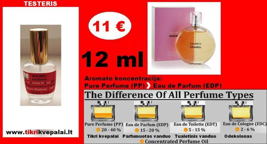 """CHANEL"" CHANCE Kvepalai Moterims 12ml TESTERIS (Parfum) Pure Perfume"