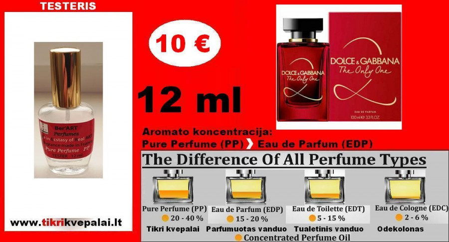 "TESTERIS. DOLCE & GABBANA ""THE ONLY ONE"" 12ml (Parfum) Pure Perfume Kvepalai Moterims"