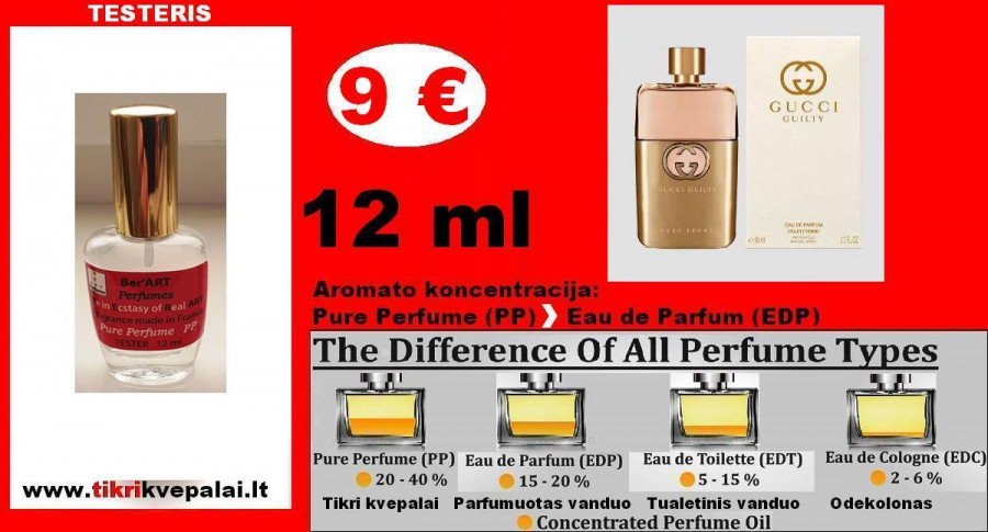 """GUCCI"" GUILTY Kvepalai Moterims 12ml TESTERIS (Parfum) Pure Perfume"
