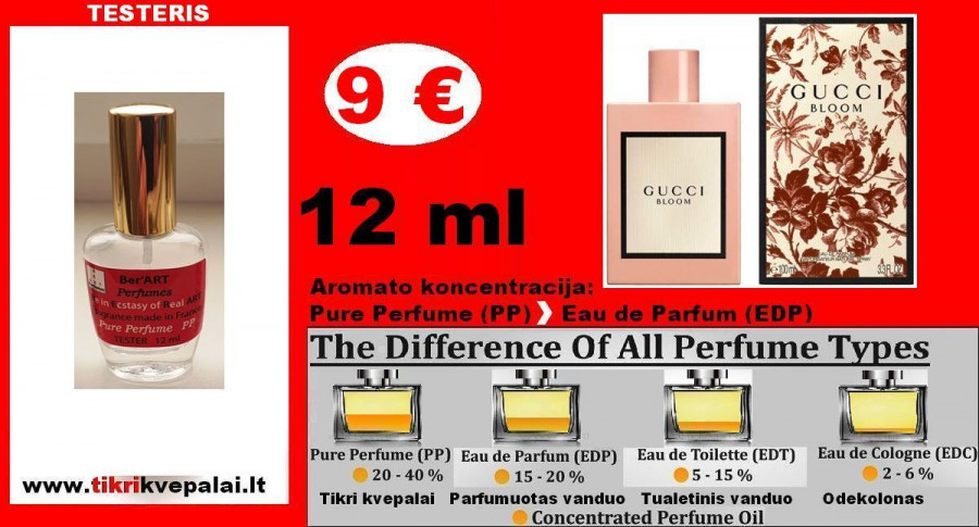 """GUCCI"" BLOOM Kvepalai Moterims 12ml TESTERIS (Parfum) Pure Perfume"