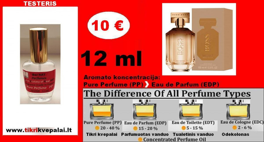 """HUGO BOSS"" THE SCENT FOR HER Kvepalai Moterims 12ml TESTERIS (PP) Pure Perfume"