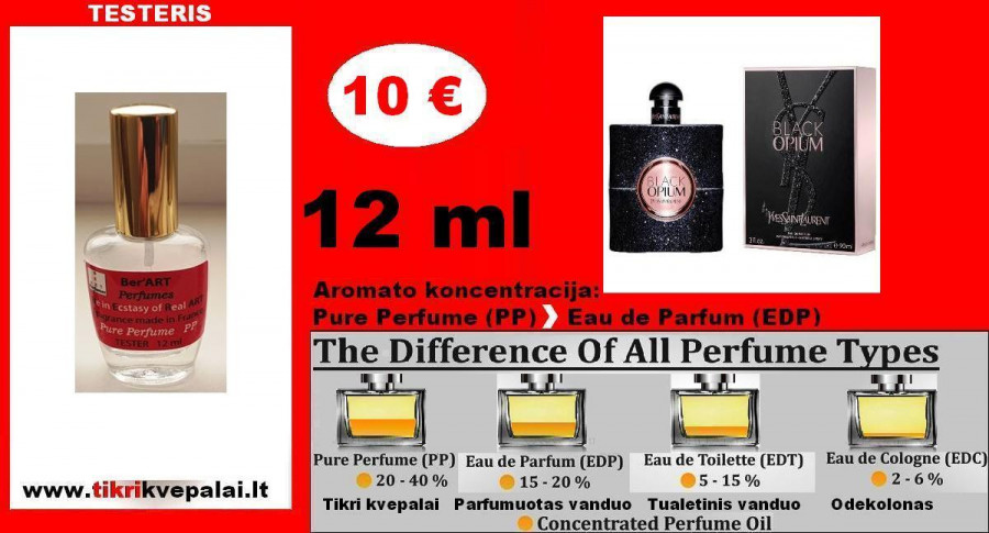 "BLACK OPIUM ""YVES SAINT LAURENT"" Kvepalai Moterims 12ml TESTERIS (Parfum) Pure Perfume"