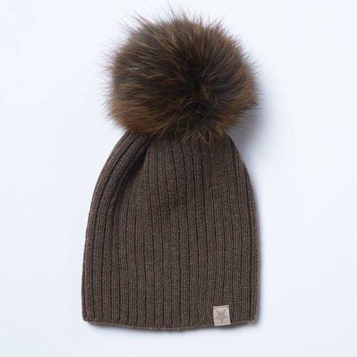 Vilnonė kepurė 49A ruda