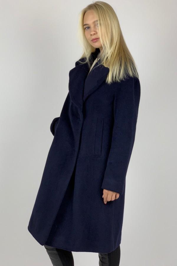 Tamsiai mėlynas klasikinis paltas iš vilnos