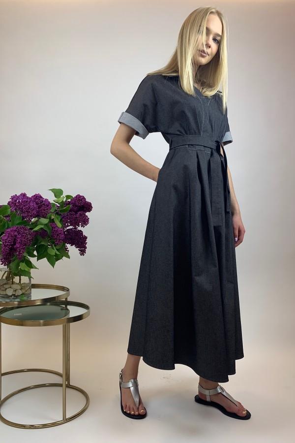 Juodos spalvos, plono džinsinio audinio suknelė