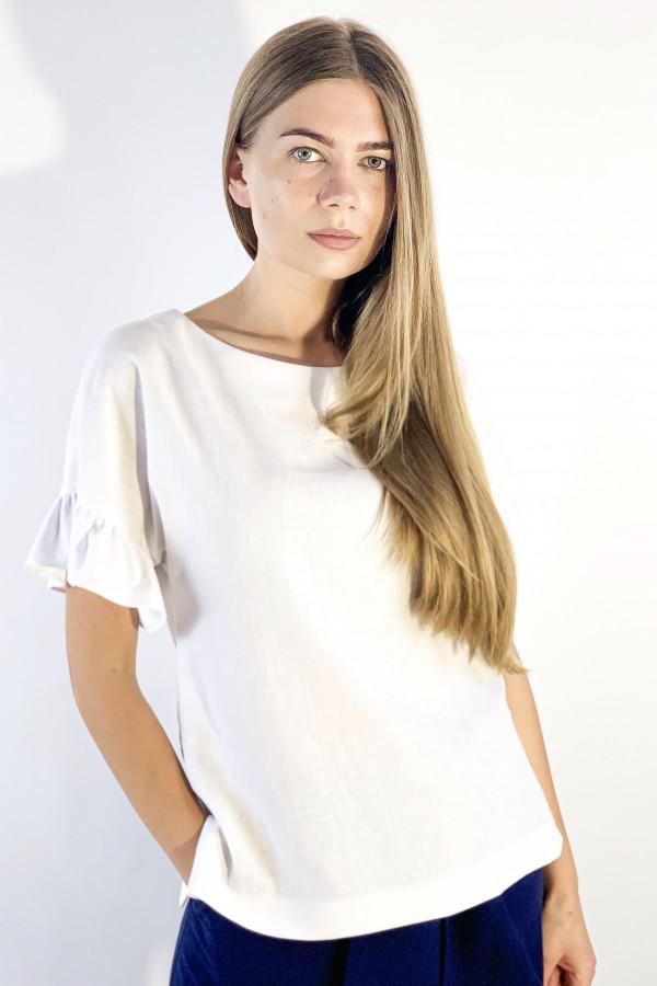 Baltos spalvos marškiniai iš lino ir viskozės