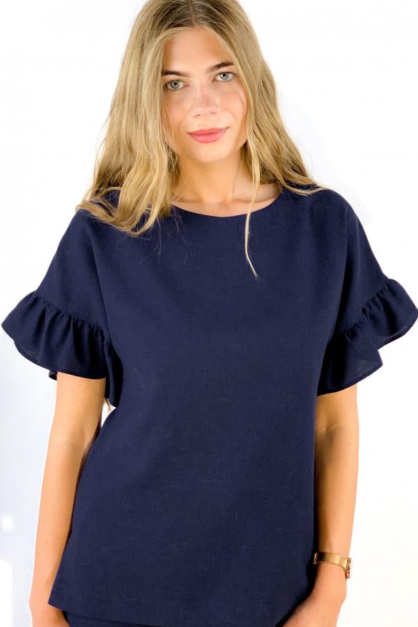 Tamsiai mėlynos spalvos marškiniai iš lino