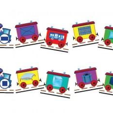 """Žaidimas """"Spalvų ir formų traukinukai"""""""