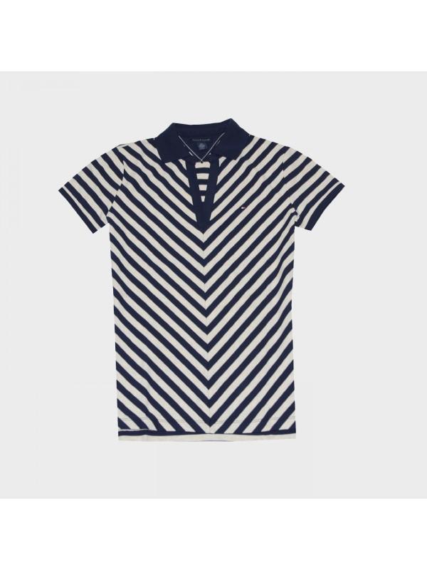 Moteriški marškinėliai Tommy Hilfiger Chevron Stripe V-Neck