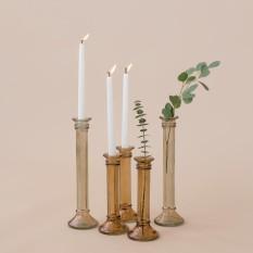 Dūminio stiklo vazelės - žvakidės, kolonos formos (Vv-7)