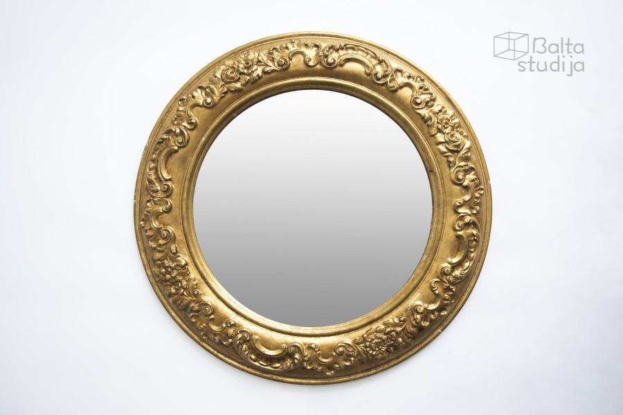 Aukso spalvos apvalus veidrodis su raižiniais (Vd-8)