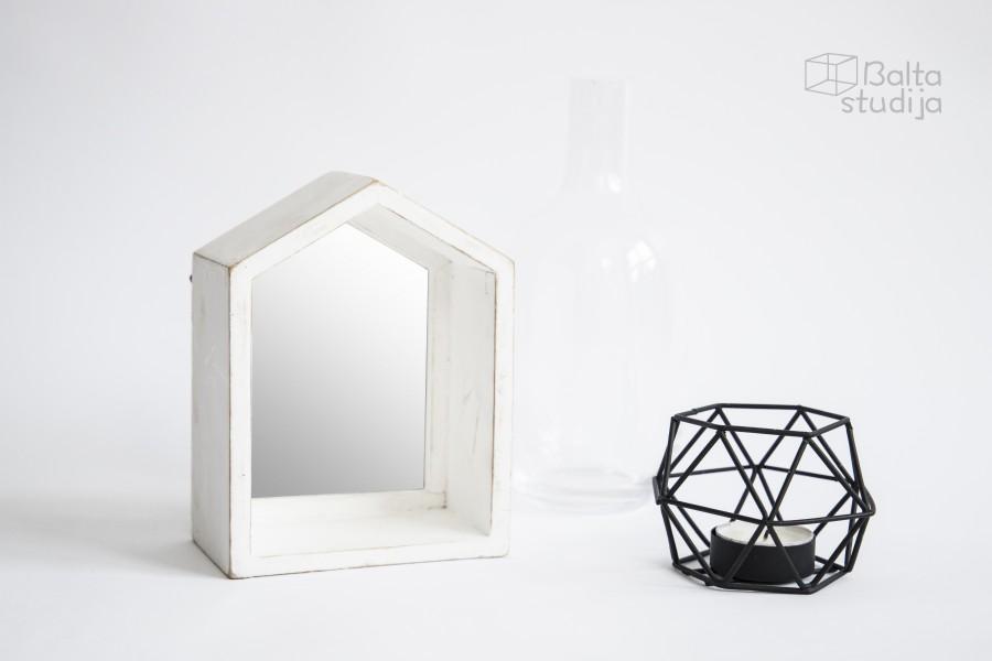 Mini namelio formos baltas veidrodis (Vd-11)