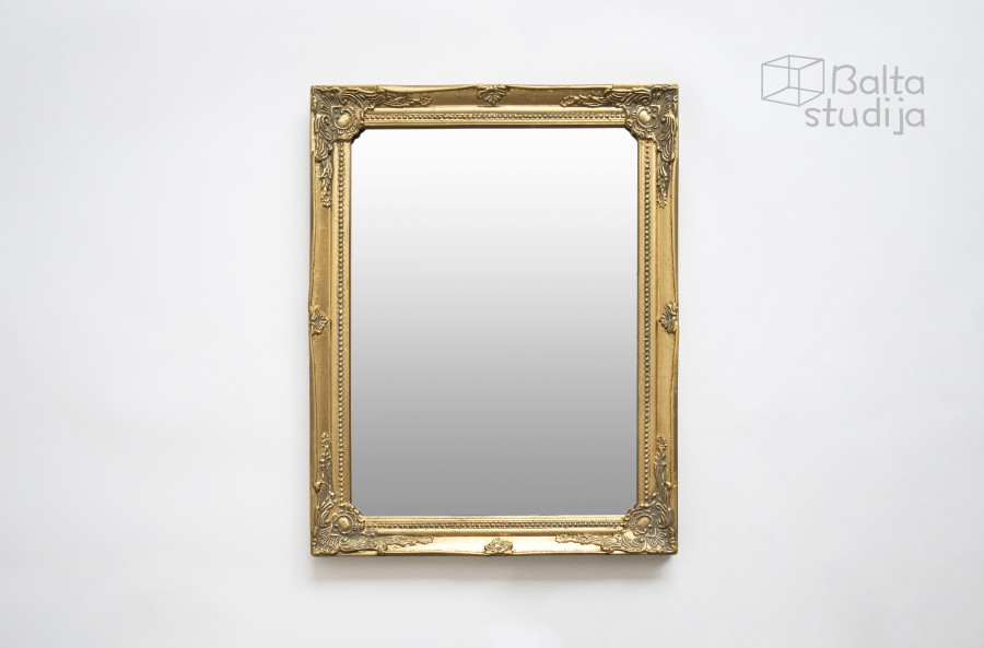 Aukso spalvos stačiakampis veidrodis su raižiniais (Vd-12)
