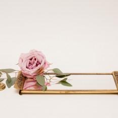 Aukso spalvos klasikinis žalvarinis veidrodėlis (Vd-13)