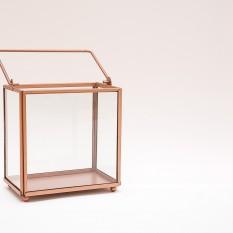 Stačiakampis žibintas - žvakidė su vario (rose gold) krašteliu (Žb-1)